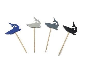 24 shark toothpicks, nautical baby shower, shark birthday, shark party, appetizer picks, food picks, shark cupcake toppers