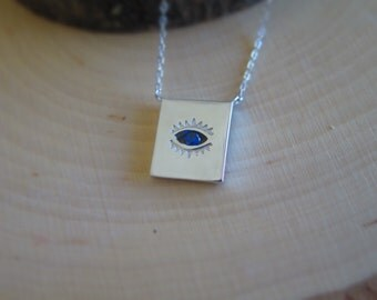 Shiny Silver square with evil eye