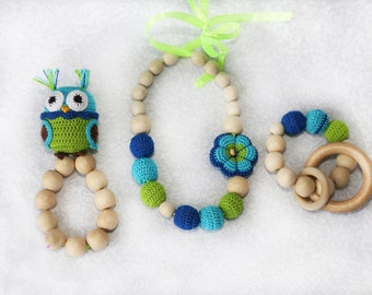 Nursing necklace, Teething necklace, Breastfeeding necklace with a rattle owl, baby chew necklace, babywearing necklace, babyshower gift set