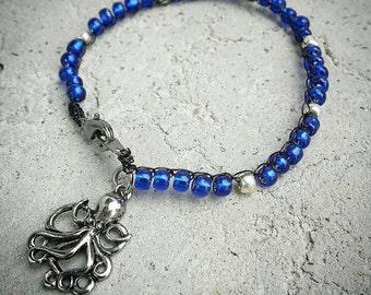Bead Crochet Bracelet with Kraken Charm
