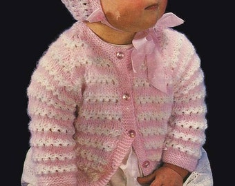 Emu 8311 pattern to knit vintage baby jacket and bonnet instant download knitting pattern