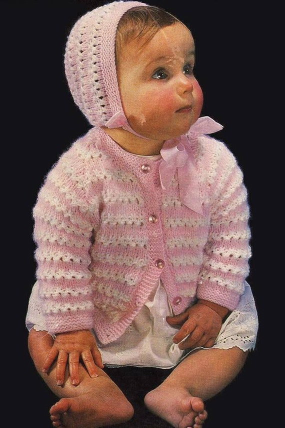 Emu 8311 pattern to knit vintage baby jacket and bonnet