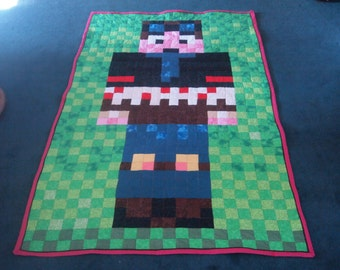 "Handmade MineCraft DanTDM 46"" x 75.5"" Quilt"
