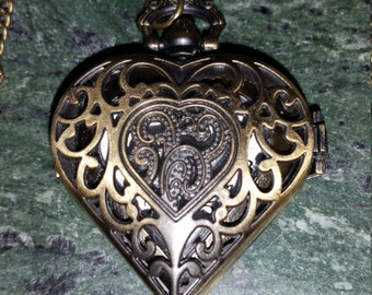 Bronze heart shaped pocket watch style neckalace