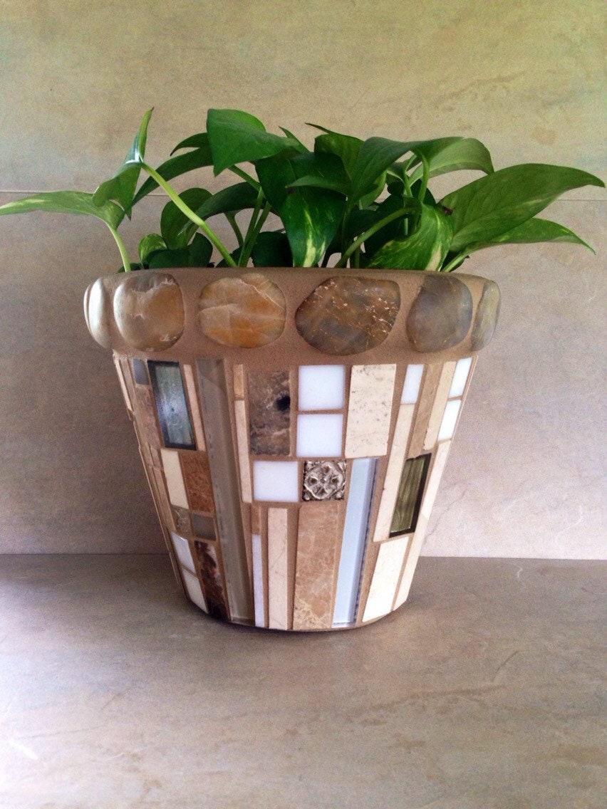 mosaic flower pot large planter outdoor patio pot indoor