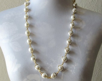 Long Pearl Necklace, Faux Pearl Necklace, Large Pearl Necklace, Large Bead Necklace, Pearl Chain Necklace,Long Necklace,Long Necklace Beaded