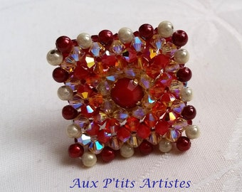 "ring ""Lisbon"" Swarovski crystal red coral and fire opal"