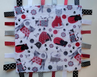Baby Sensory Blanket - Cat Tag Blanket - Flannel Ribbon Blanket - Minky Tag Blanket - Baby Lovey - Flannel Baby Blanket