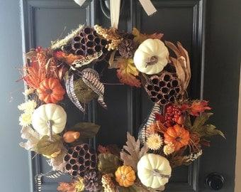 Fall Wreath, Harvest Wreath, Autumn Wreath, Pumpkin Wreath