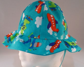 Airplanes Baby Sun Hat Size 6-12 Months