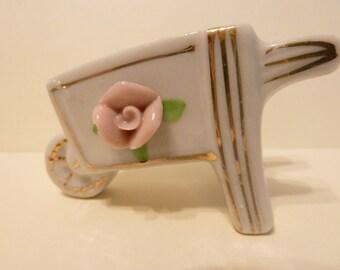 Miniature Wheel Barrel w/ Raised Pink Rose and Gold Trim