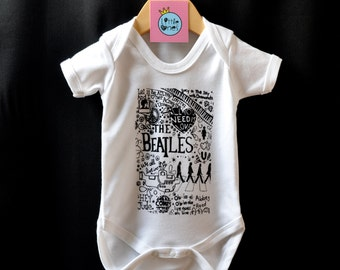 The Beatles Baby Onesie / Bodysuit Cool Funky Beatles Design Perfect Gift for Beatles Fans