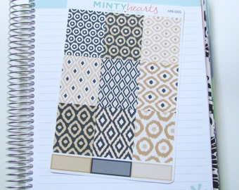 NFB-0002 // Black & Gold Ikat Full Box Planner Stickers