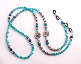 Beaded Eyeglass Chain Eye Glasses Necklace - Eyeglasses Holder - Turqouise and Silver Beaded Lanyard