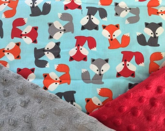 Personalized Minky Baby Blanket, Urban Zoologie Teal With Little Foxes in Red and Grey