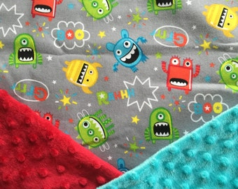 Personalized Minky Baby Blanket, Grey Monsters Minky Baby Blanket