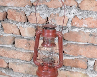 RARE Vintage oil lamp German oil lamp Red lantern 104 Kerosene lamp Farm house cottage decor Made in GDR - 1950's For send to USA ask me