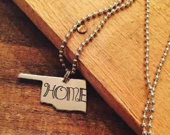 OklaHOMEa Necklace, Oklahoma, Country, Home, Metal Stamped Necklace, Gifts