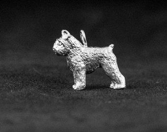 Sterling Silver Bouvier de Flanders Charm, Silver Bouvier Pendant