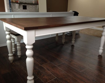 "Dark Walnut Farm House Table with 3.5"" Legs!!! Up To 9' Length!!!"