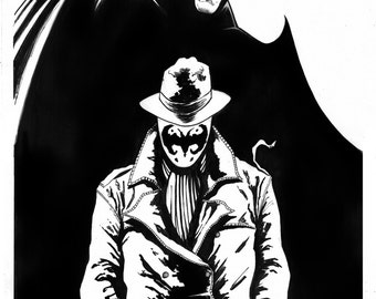 Rorchach and Batman Inked A3 Original Artwork - Signed by Artist 1/1
