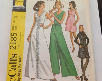 Vintage 1960s McCALL'S #2185 -  Sleeveless Dress or Jumpsuit  size 12