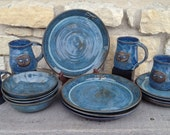 Dragonfly Pottery Dinnerware, Stoneware, Wheel Thrown Place Setting for Four