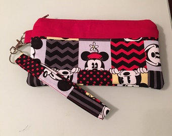 Mickey  Mouse Black and Red Wristlet, Pencil Case