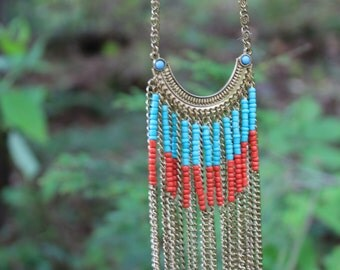 Boho Necklace, Southwestern Necklace, Red and Blue, Tribal Style Necklace