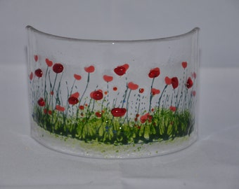 Handmade Fused Glass Poppy Curve
