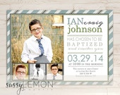 Ian Baptism Invitation, LDS Baptism Announcement, Digital, Printable, Stripes