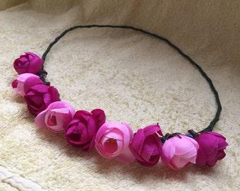 pink floral crown, flower crown, floral headband, floral headpiece