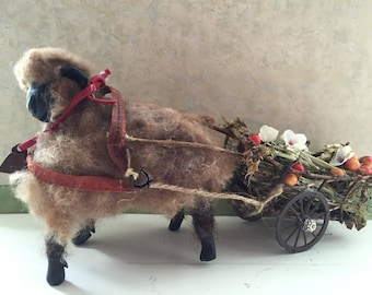 Wooly sheep with cart