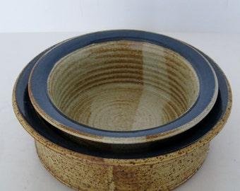 Stoneware Nesting Bowls, Pair