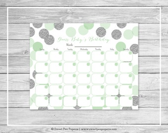 Mint and Silver Baby Shower Guess Baby's Birthday - Printable Baby Shower Guess Baby's Birthday Game - Mint and Silver Baby Shower - SP125