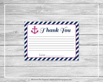 Nautical Baby Shower Thank You Cards - Printable Baby Shower Thank You Cards - Navy Pink Baby Shower - Thank You Cards - SP119