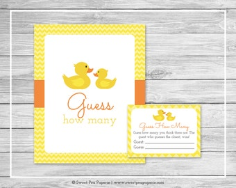 Rubber Ducky Baby Shower Guess How Many Game - Printable Baby Shower Guess How Many Game - Rubber Duck Baby Shower - Guess How Many - SP121