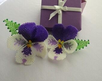 Pair elastics hair flower beads,