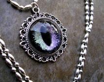 Steampunk Gothic UV Reactive GLOW - Pendant - Dragon Evil Eye - Silver Violet Nebula Black 20mm - ooak - dark macabre creepy - 24mm