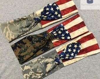 Military Camo & Flag Tie Headband- Army Headband- Dolly Headband- Marine Headband- Navy Headband- Airforce Headband- Flag Headband