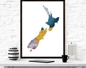 New Zealand Map, minimalism, wall art, modern design, home decor, gift idea