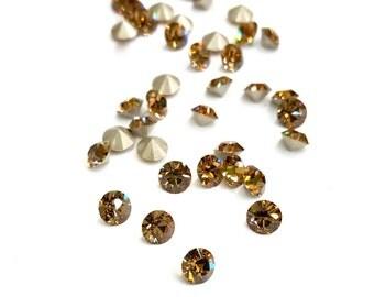 24 Pieces Light Colorado Topaz Swarovski Stones, Article #1028 Xilion Chaton, Vintage, 24ss (5mm) Round