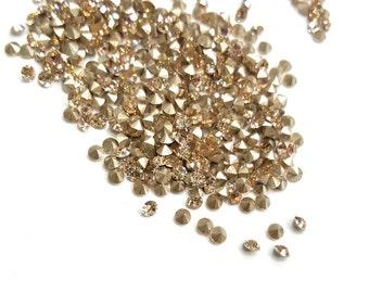 60 Pieces Silk Champagne Swarovski Crystals, Article #1028, Xilion Chaton, Vintage, 18pp Round