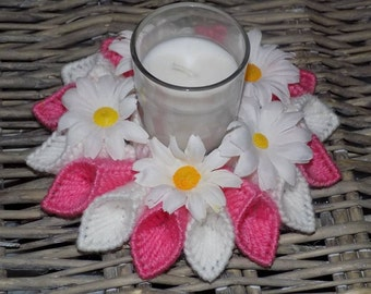 pink and white candle holder