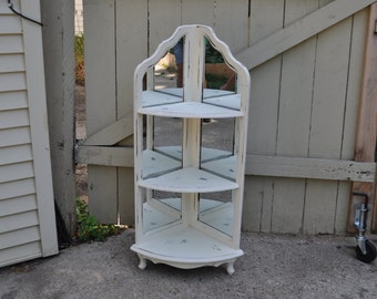 Shabby Chic Antique White Mirrored Corner Piece