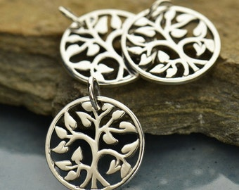 Tree of Life Charm, Sterling Silver 925 Pendant, 15mm