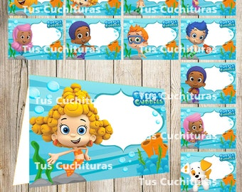 12 Bubble Guppies Food Tent Cards instant download, Printable Bubble Guppies Labels, Bubble Guppies Party Table Label
