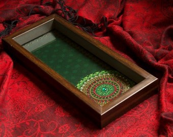 Green Diamante Decorative Holdall Tray