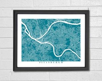 Pittsburgh Map Art - Map Print - Pennsylvania - Map Print - Home Map - Anniversary Gift - Map Art - Home Decor - Birthday Gift - Travel Gift