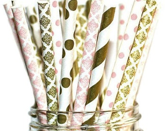 High Class Paper Straws For Parties, Weddings, Baby Showers & More: Gold Ivory Straws – Disposable and  Eco- Friendly, 100% Biodegradable